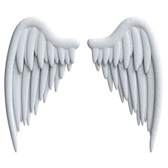 Cartoon wings in plasticine or clay style.