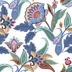Fantasy flowers seamless paisley pattern. Floral ornament, for fabric, textile, wrapping, wallpaper