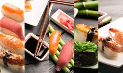 Sushi photo collage