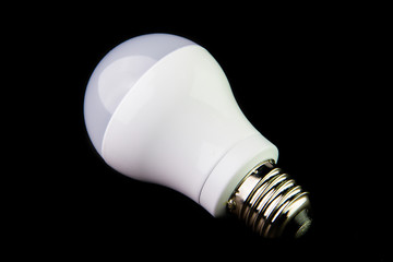 Energy saving LED light bulbs on the black background.