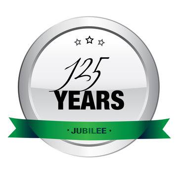 125 Years jubilee seal or icon. Silver seal or button with stars and green banner.