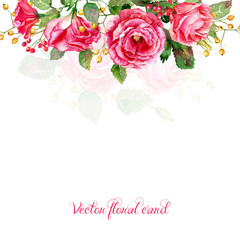Frame of red vector watercolor roses.