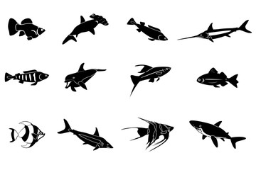Set of sea and ocean fishes. Cartoon vector illustration.