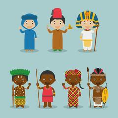 Ilustración de vector Niños y nacionalidades del mundo Set 2: África. Grupo de 7 personajes vestidos a la manera tradicional de sus respectivos países