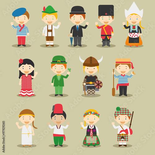 Quot ilustración de vector niños y nacionalidades del mundo