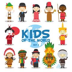 Niños del mundo: Nacionalidades Set 2. Grupo de 12 personajes vestidos a la manera tradicional de sus respectivos países. Ilustración de vector.