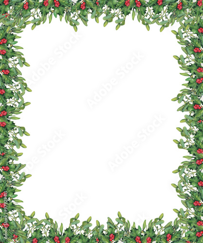 Christmas border with green mistletoe and holly branches. Original ...