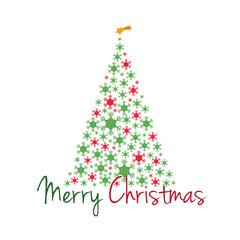 Árbol de Navidad con copos de nieve y texto Feliz Navidad en rojo y verde. Ilustración de vector