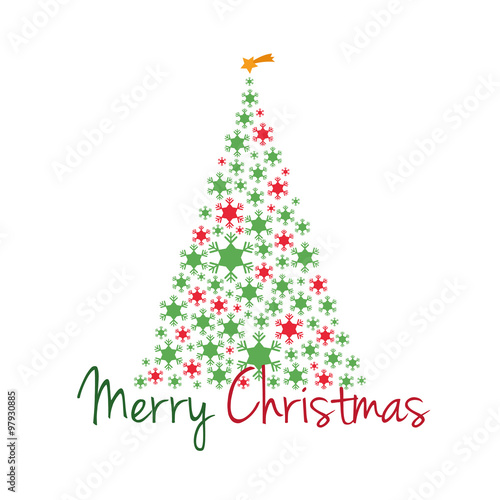 Rbol de navidad con copos de nieve y texto feliz navidad - Arbol navidad nieve ...