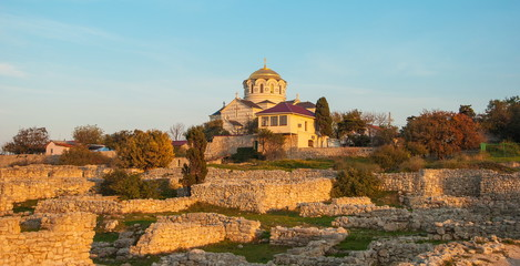 St. Vladimir's Cathedral and the ruins of Khersones on sunset