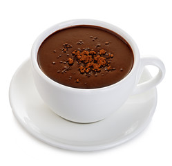 Hot chocolate close-up isolated on a white background.