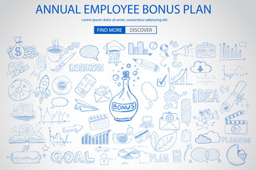 Employee Bonus Benefit Plan concept with Doodle design style