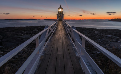 Marshall Point Lighthouse after sunset