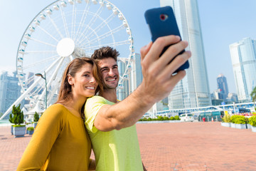 Spanish couple take selfie by mobile phone