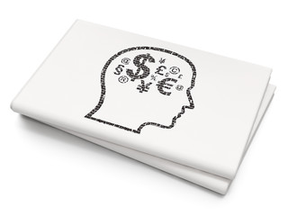 Business concept: Head With Finance Symbol on Blank Newspaper background
