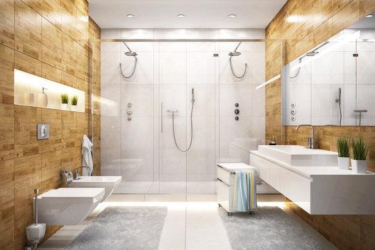 Large shower in modern bathroom