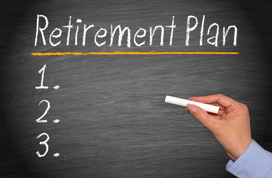 Retirement Plan Checklist with female hand and chalk on blackboard