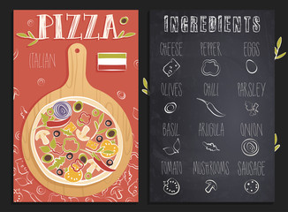 Italian Pizza menu template with ingredients for the pizza on the chalkboard.  Pizza on the board. Vector illustration.