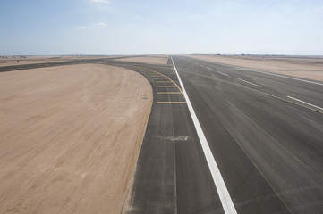 Aerial view of an airport runway