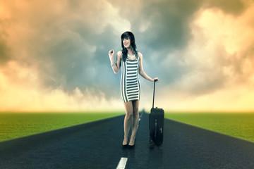 Frau auf reise.