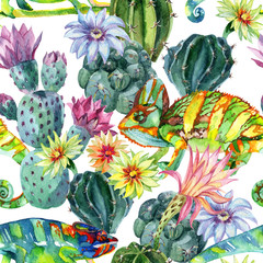 Foto op Canvas Aquarel Natuur Watercolor seamless cactus pattern
