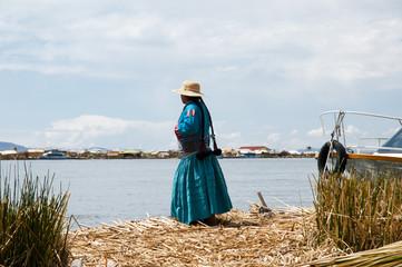 Traditional Woman on Uros Islands - Lake Titicaca - Peru