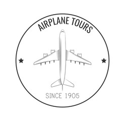 Airplane Label. Vector Illustration