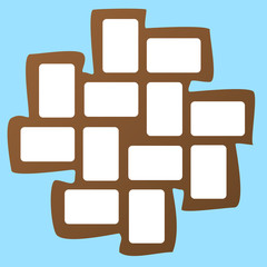 Brown collage photo frame on light blue background