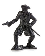 Angry pirate with gun close-up isolated on a white background. Miniature figurine of a children's toy.