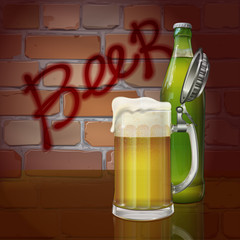 "Beer mug, bottle, brick wall, the word ""beer"". Vector"