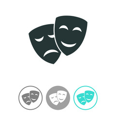Theater icon with happy and sad masks vector icon. Comedy and tragedy theatrical masks.