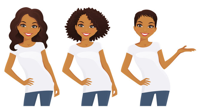 Set of cute girls with different hairstyles in white T-shirts