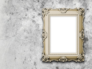 One baroque frame on stained concrete wall background