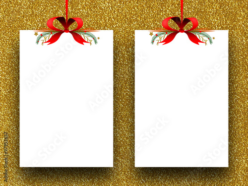 Two Empty Rectangular Paper Sheet Frames With Xmas Ribbon Decoration