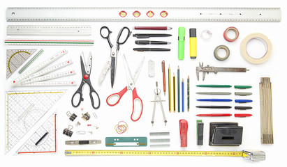 collection of office tools, isolated on white