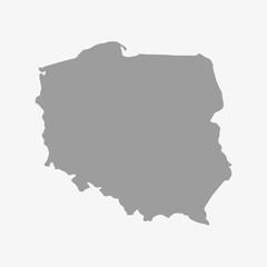 Fototapeta Map of Poland in gray on a white background obraz