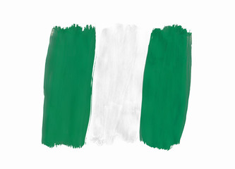 Nigerian flag painted with gouache