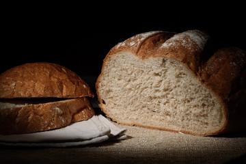 Still rye bread on sacking