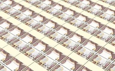 Kenyan shillings bills stacks background. Computer generated 3D photo rendering.