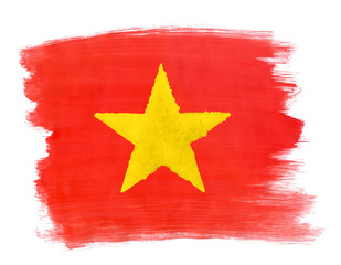 Vietnamese flag painted with gouache