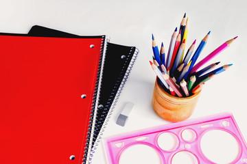 notebooks and pencils, ruler, Eraser, school set stationery