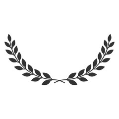 A laurel wreath icon - symbol of victory and achievement. Vintage design element for medals, awards, coat of arms or anniversary logo. Gray silhouette isolated on white background. Vector illustration