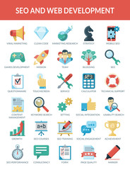 SEO and WEB development icons.  Use a set of icons for the development of optimization to promote your website. High-quality vector. Everything has been done to the pixel grid