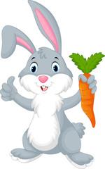 Cute cartoon rabbit holding a carrot