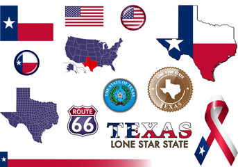 Texas Icon Set.  Set of vector graphic images representing symbols and landmarks of the US state of Texas.