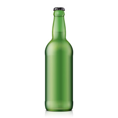 Glass Beer Green Bottle On White Background Isolated. Ready For Your Design. Product Packing. Vector EPS10