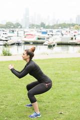 charming girl doing exercise