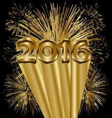 2016 new year with fireworks gold background