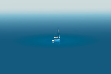 Sailing yacht drifts in a calm sea