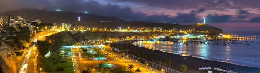 Panoramic HDR view of the Chorrollos Bay in Lima, Peru.